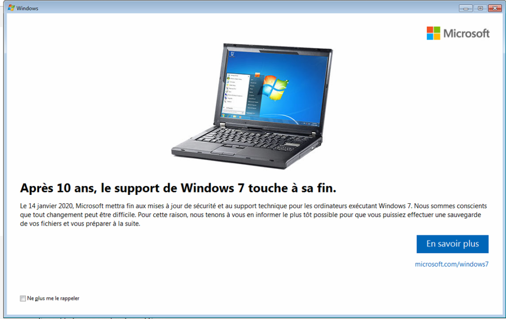 Fin du support de Windows 7